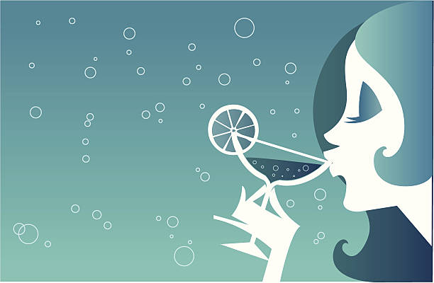 Dama bebendo um Cocktail - ilustração de arte em vetor