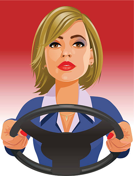 Lady driver vector art illustration