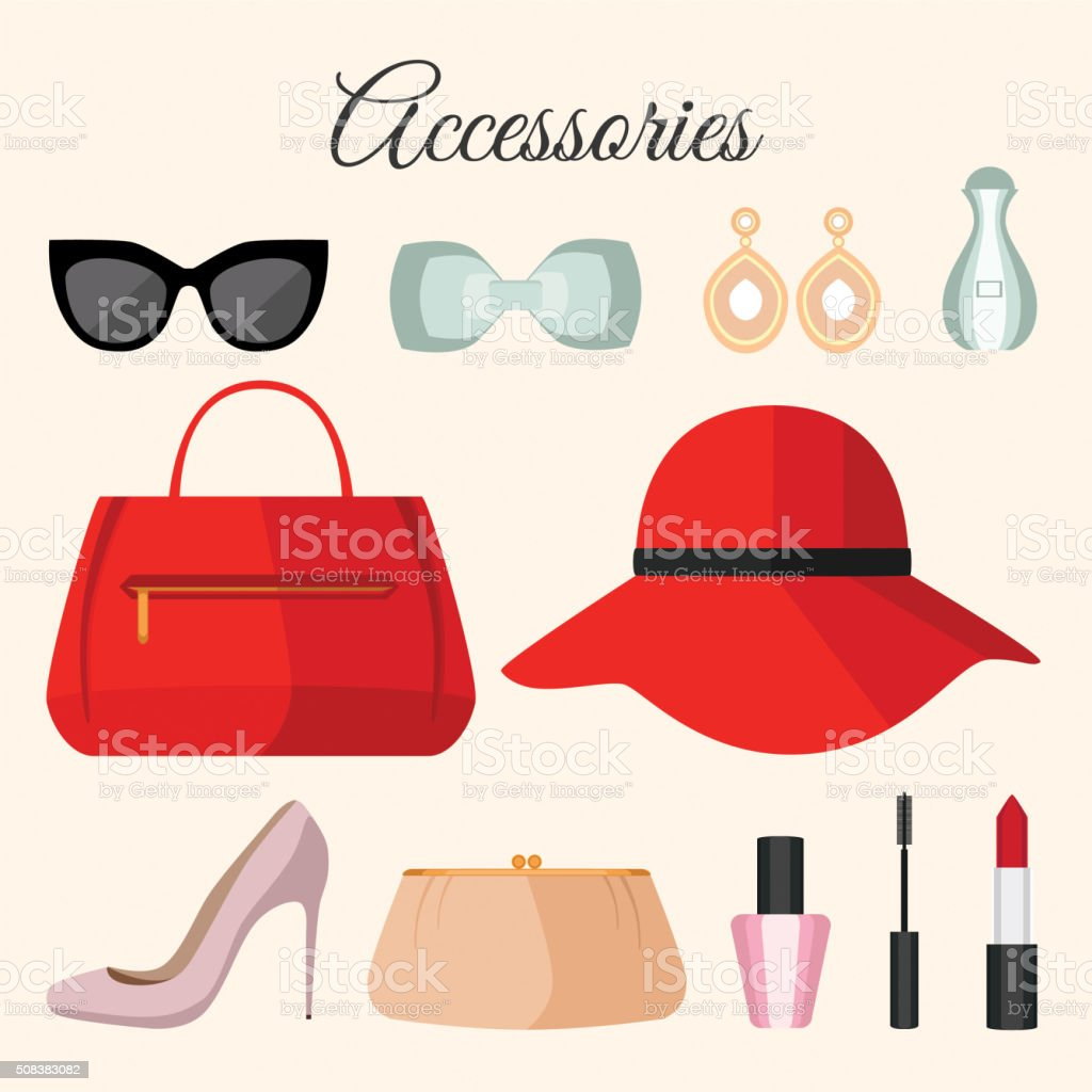 Lady fashion accessories set in flat style. vector art illustration