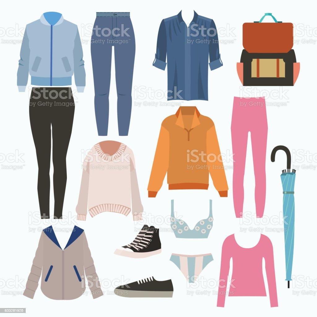 Trendy Kleding.Lady Mode Ingesteld Van Herfst Seizoen Outfit Illustratie Stijlvolle