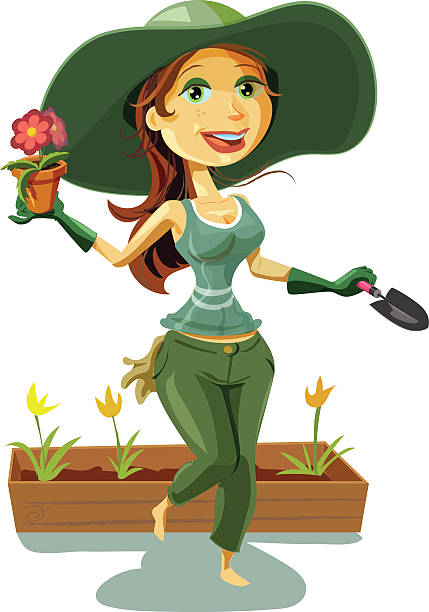 Best Woman Gardening Illustrations Royalty Free Vector Graphics
