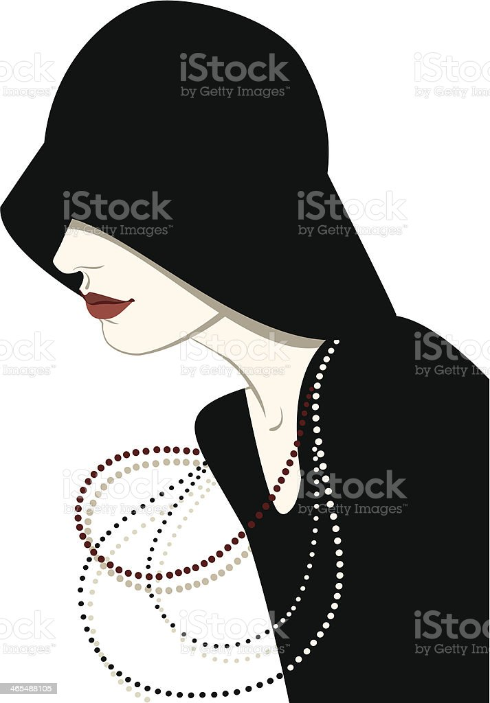 Lady in hat vector art illustration