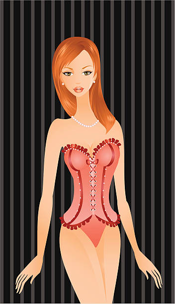 dame in dessous - perlenohrringe stock-grafiken, -clipart, -cartoons und -symbole