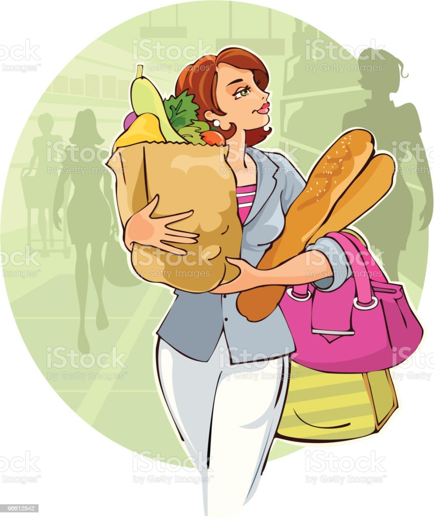 Lady in SuperMarket - Royalty-free Alleen volwassenen vectorkunst
