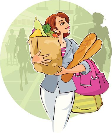 Леди В Супермаркет — стоковая векторная графика и другие изображения на тему Багет