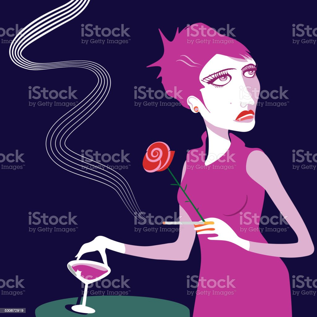 lady is waiting for her date vector art illustration