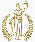 lady justice . Greek goddess Themis . .  fair trial . Law . Laurel wreath .