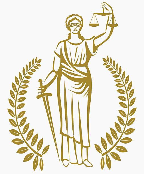 lady justice . Greek goddess Themis . .  fair trial . Law . Laurel wreath . vector art illustration