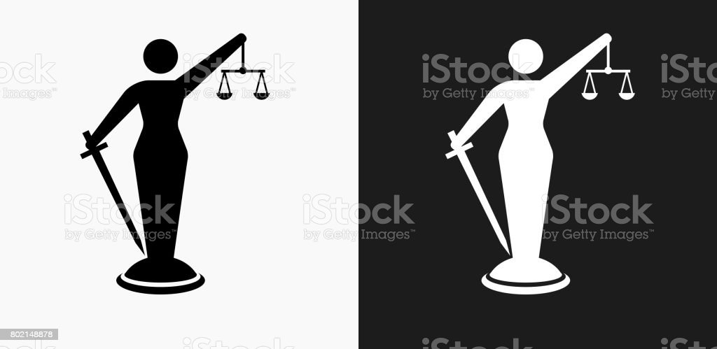 Lady Justice Icon on Black and White Vector Backgrounds vector art illustration