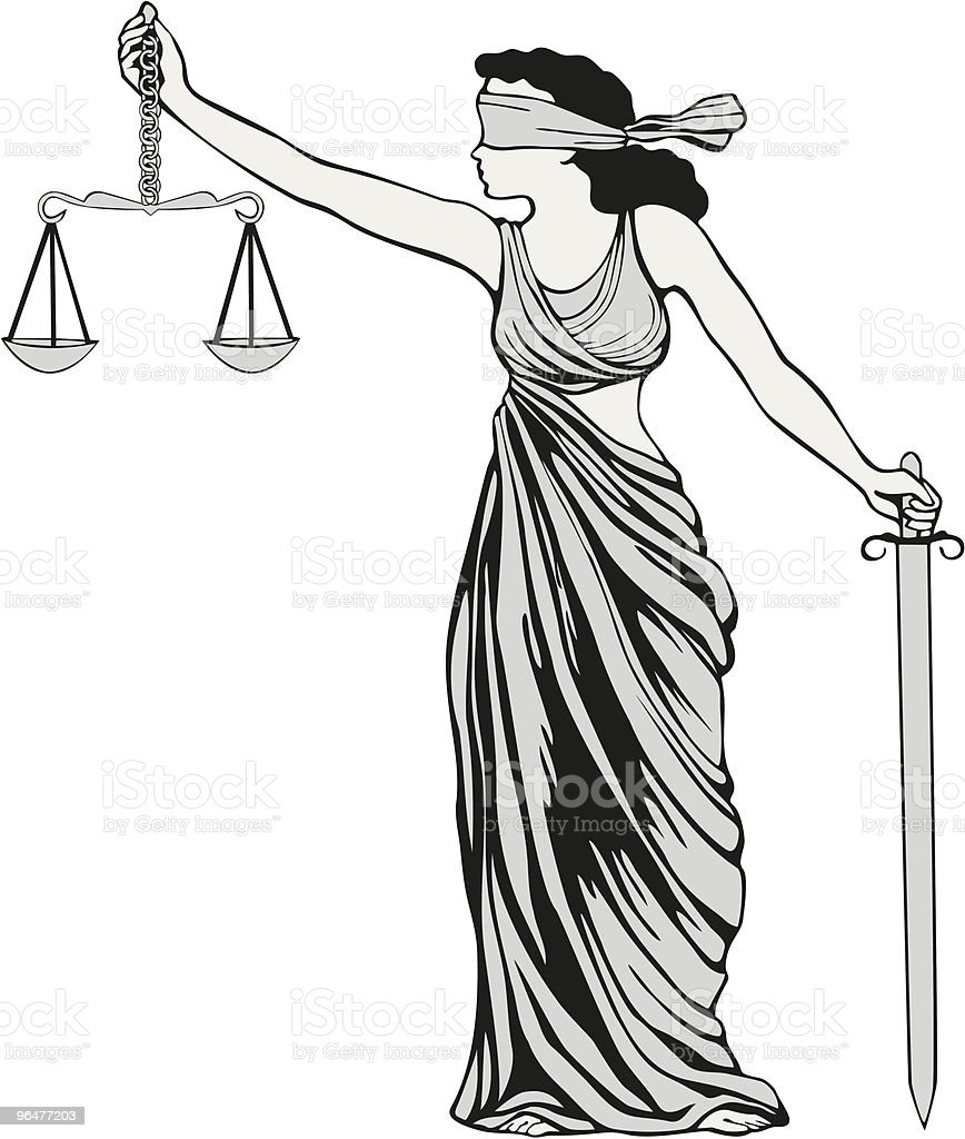 Lady Justice Illustration royalty-free stock vector art
