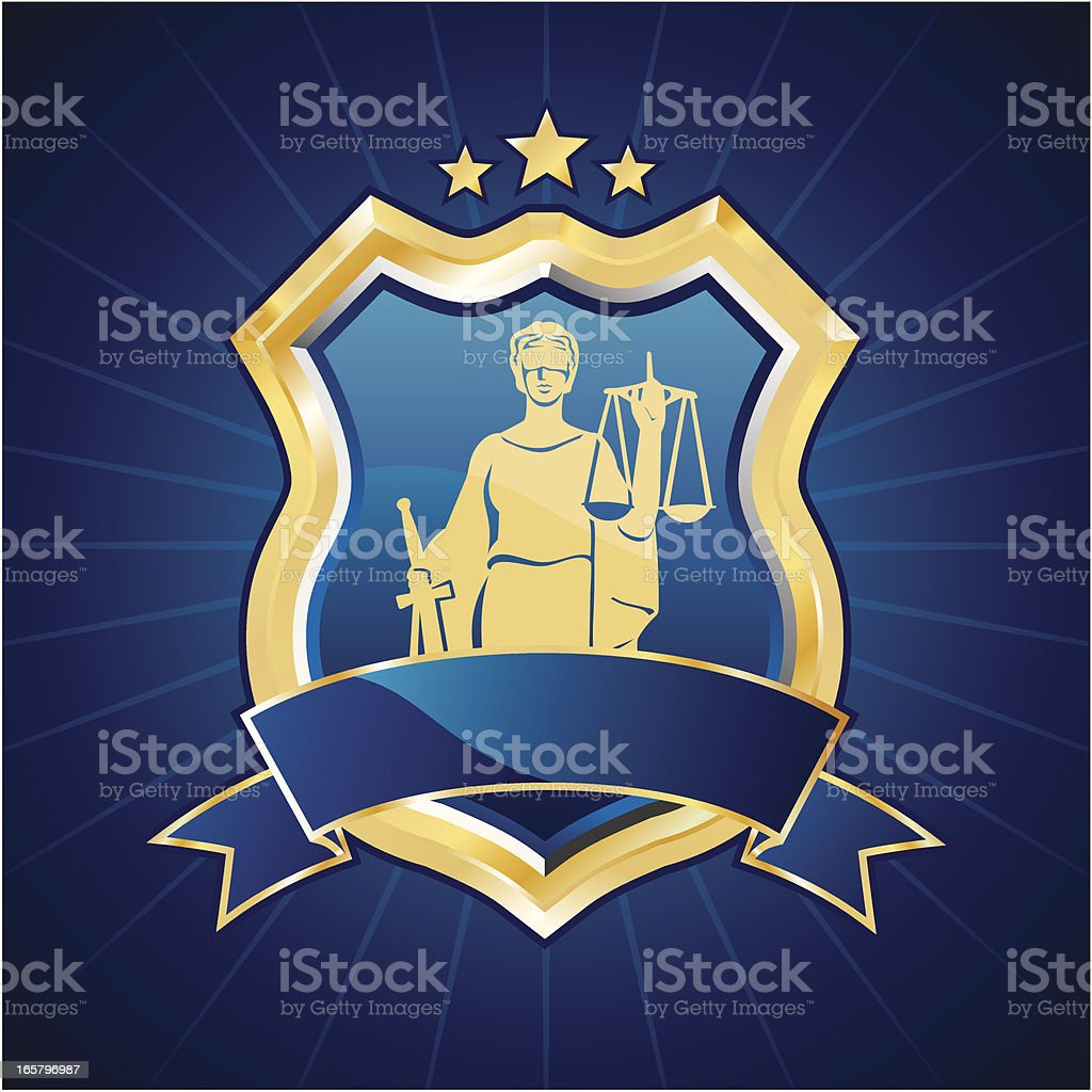 Lady justice shield royalty-free stock vector art