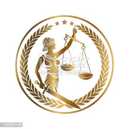 istock Lady Justice Themis Golden Emblem 1202321149