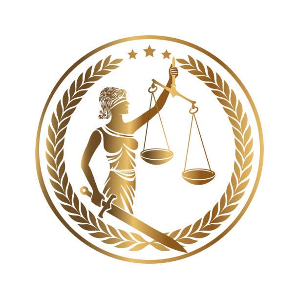 bildbanksillustrationer, clip art samt tecknat material och ikoner med lady justice themis gyllene emblem - justitia