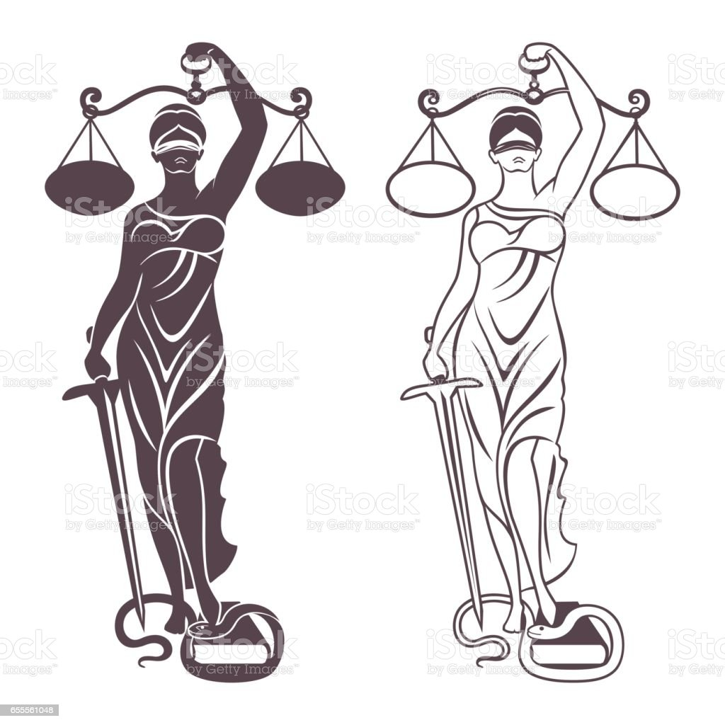 lady justice Themis vector art illustration