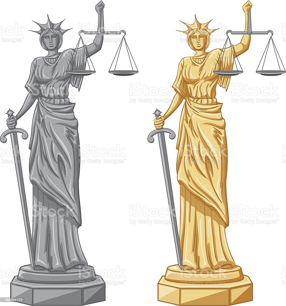 lady justice vector art illustration