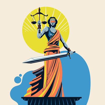 Lady of justice Femida or Themis Vector Illustration