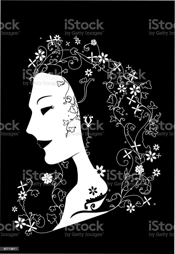lady Frühling Profil Maske illustation Lizenzfreies lady frühling profil maske illustation stock vektor art und mehr bilder von blatt - pflanzenbestandteile