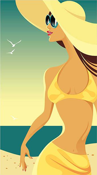 Lady na plaży. – artystyczna grafika wektorowa