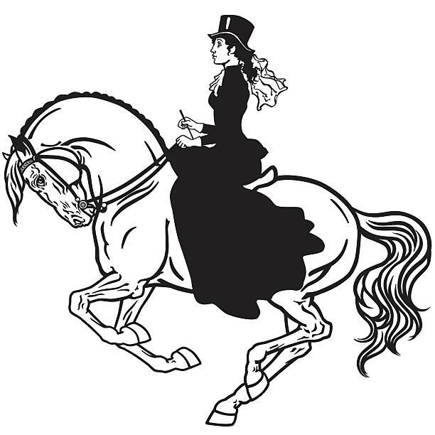 lady on a horse black and white - reiter stock-grafiken, -clipart, -cartoons und -symbole
