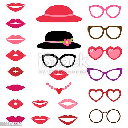 Lady photo booth vector set with hats, glasses and lips