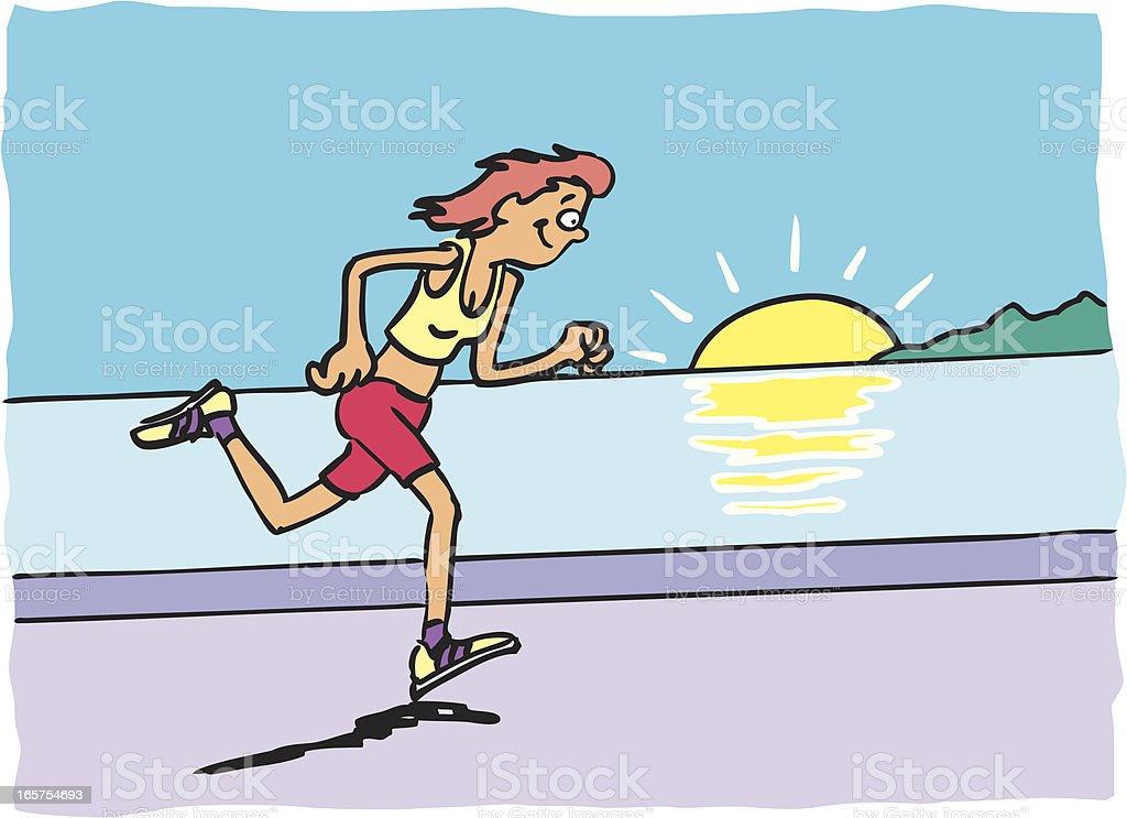 Lady Running vector art illustration