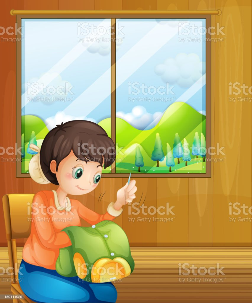 Lady sewing inside the house near window royalty-free lady sewing inside the house near window stock vector art & more images of adult