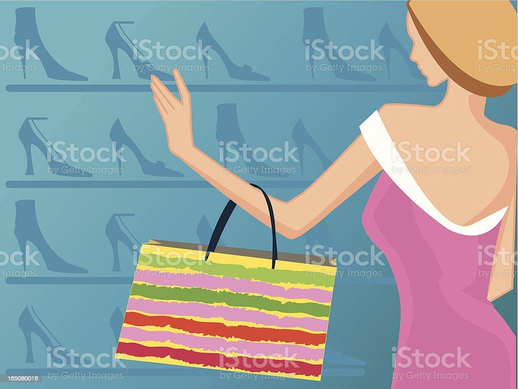 lady shoppin para calçados - ilustração de arte em vetor
