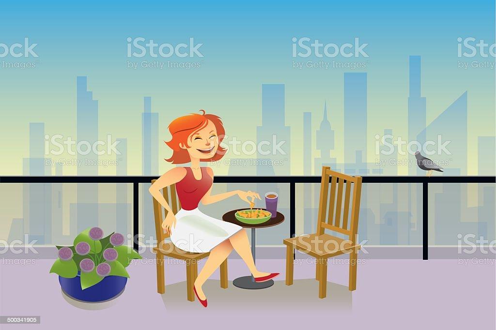 Lady Sitting on Balcony Overlooking the City vector art illustration