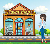 lady standing beside the pawnshop