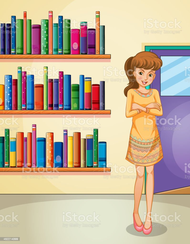 lady standing in front of the bookshelves royalty-free lady standing in front of the bookshelves stock vector art & more images of adult