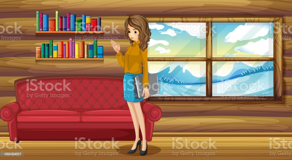 lady standing with a binder near the sofa royalty-free stock vector art