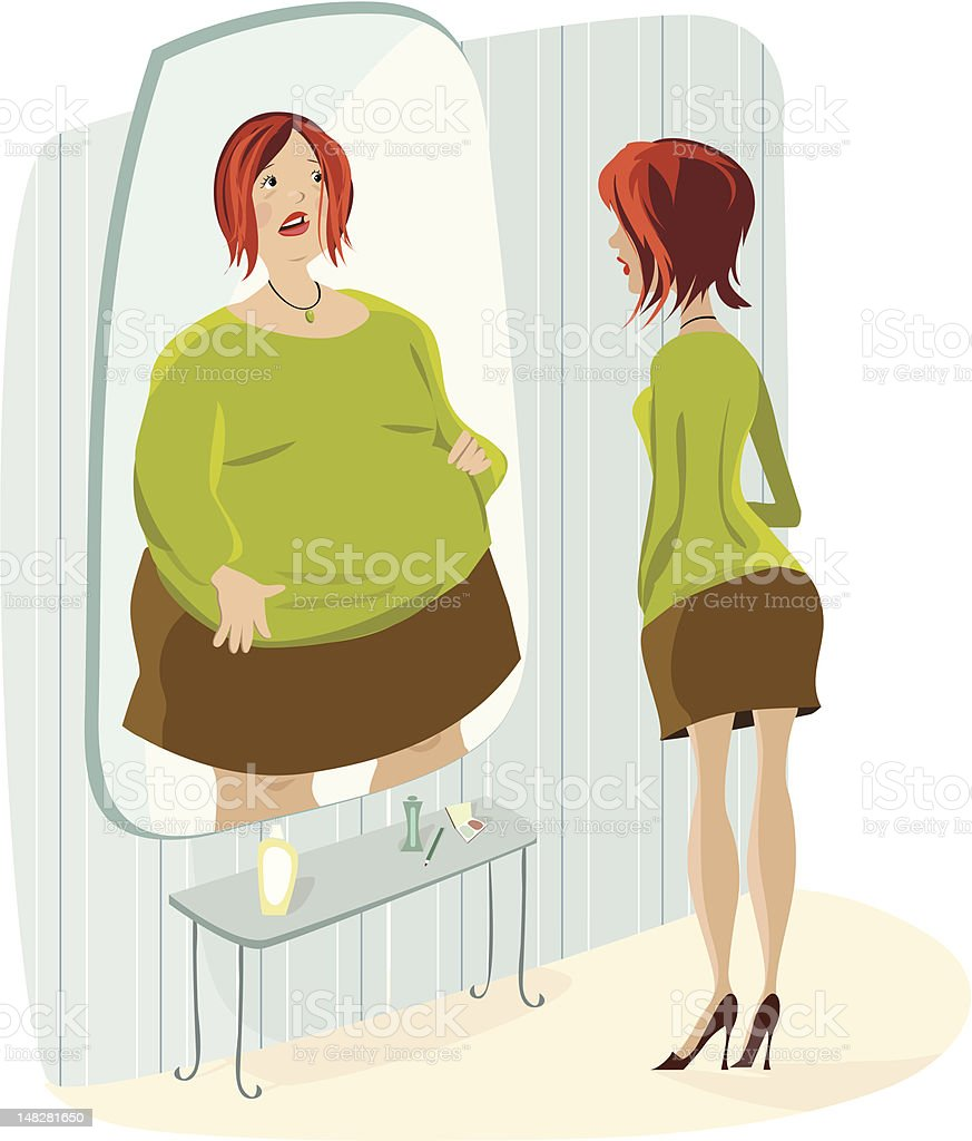 Lady terrified of her fat reflection vector art illustration
