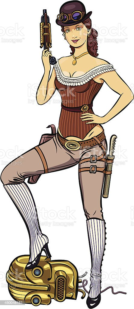 Lady the warrior in steampunk style vector art illustration