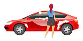 Lady washing car flat color vector faceless character. Young woman polishing sedan with rag isolated cartoon illustration  for web graphic design and animation. Girl in casual clothes cleaning auto