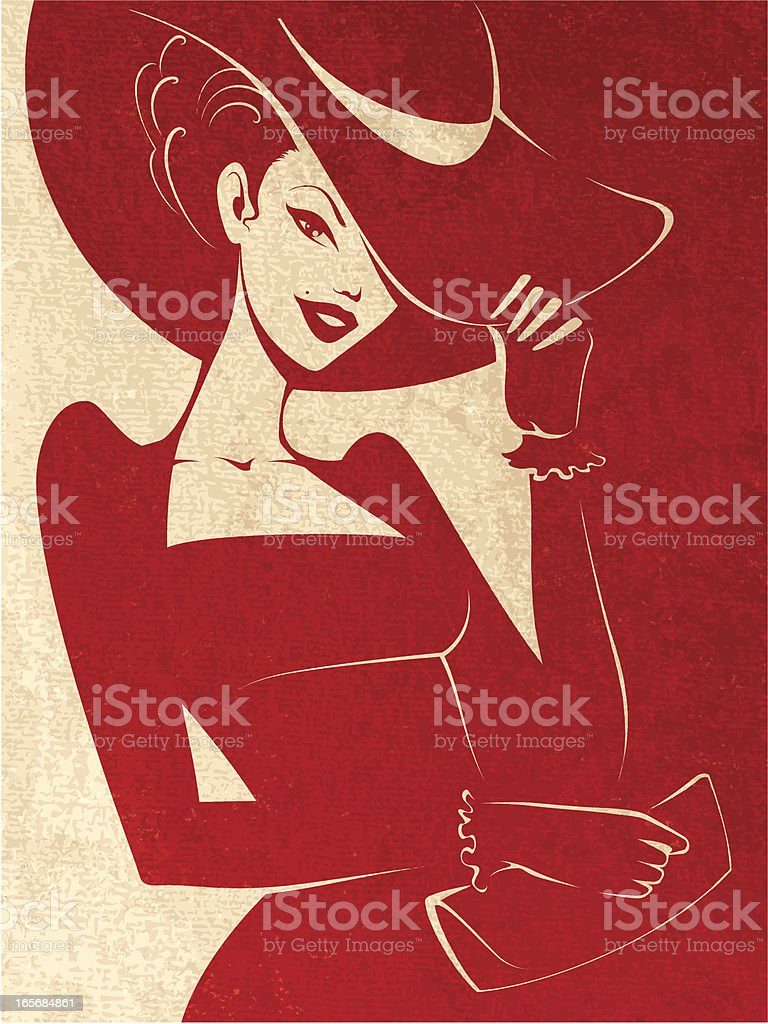 Lady Wearing a Hat vector art illustration
