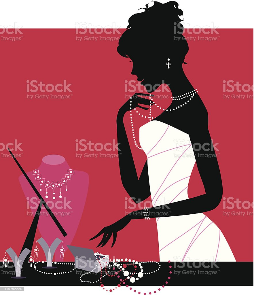 Lady wearing accessories vector art illustration