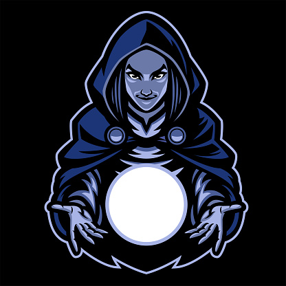lady witch mascot with magic glass ball