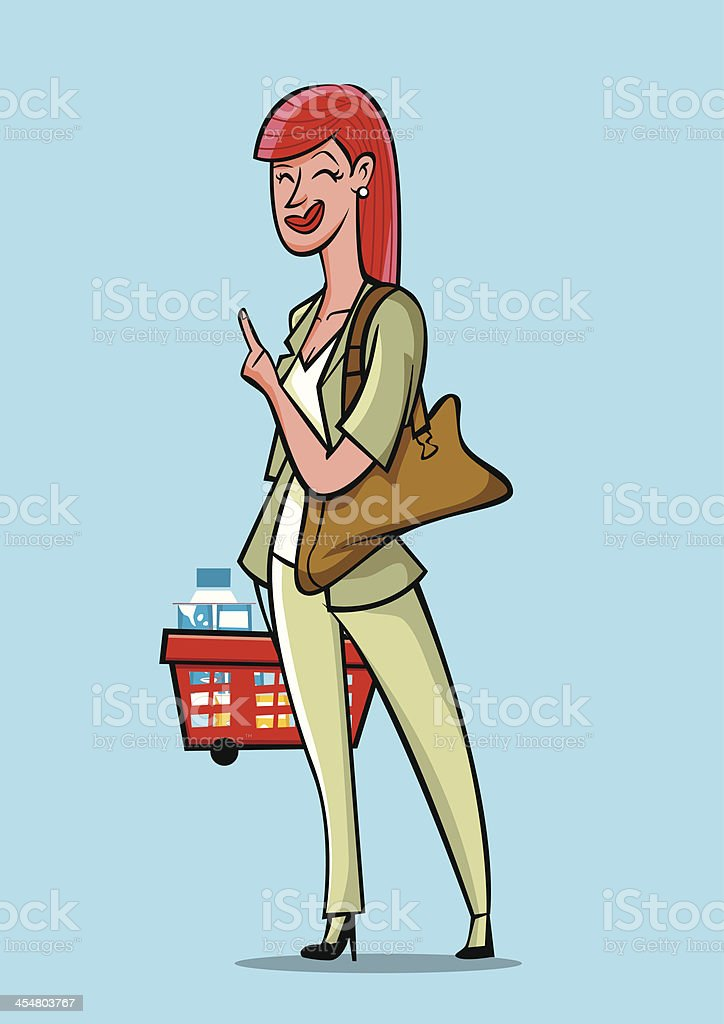 Lady with a basket points the finger and asks royalty-free stock vector art
