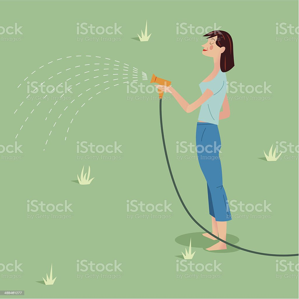 Lady with hose pipe vector art illustration