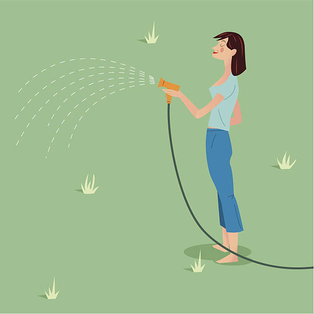 lady with hose pipe - russelltatedotcom stock illustrations