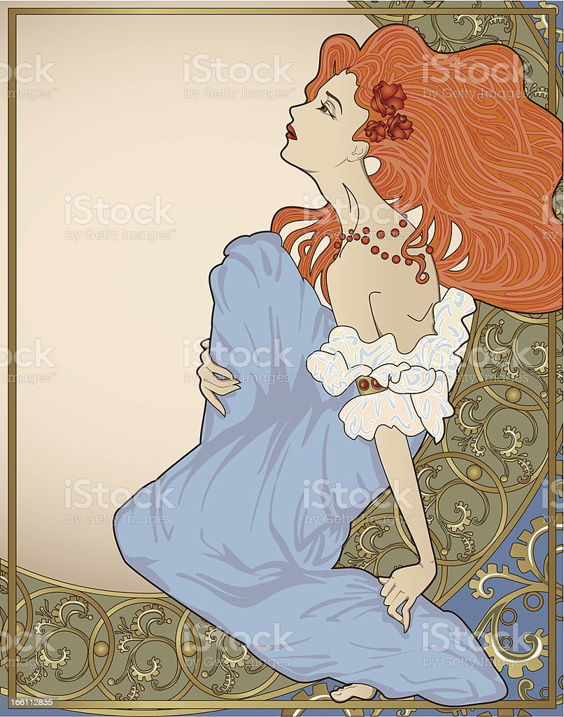 Lady with ornate frame. vector art illustration