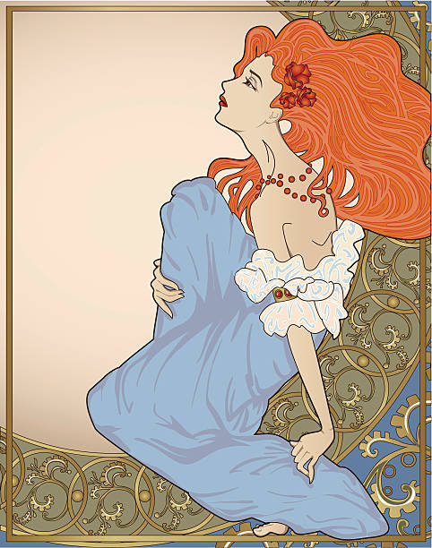 lady with ornate frame. - art nouveau stock illustrations, clip art, cartoons, & icons