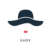 Lady with painted lips in a beautiful hat. Vector illustration.