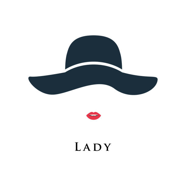 lady with painted lips in a beautiful hat. vector illustration. - womens fashion stock illustrations, clip art, cartoons, & icons