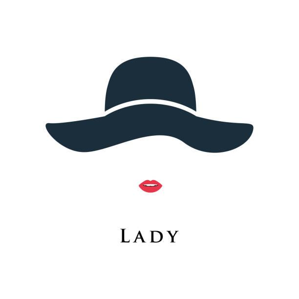 美しい帽子の塗られた唇を持つ女性。ベクトルの図。 - ファッション/ビューティ点のイラスト素材/クリップアート素材/マンガ素材/アイコン素材