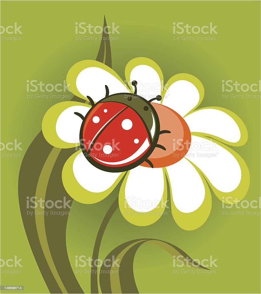ladybird and flower royalty-free stock vector art