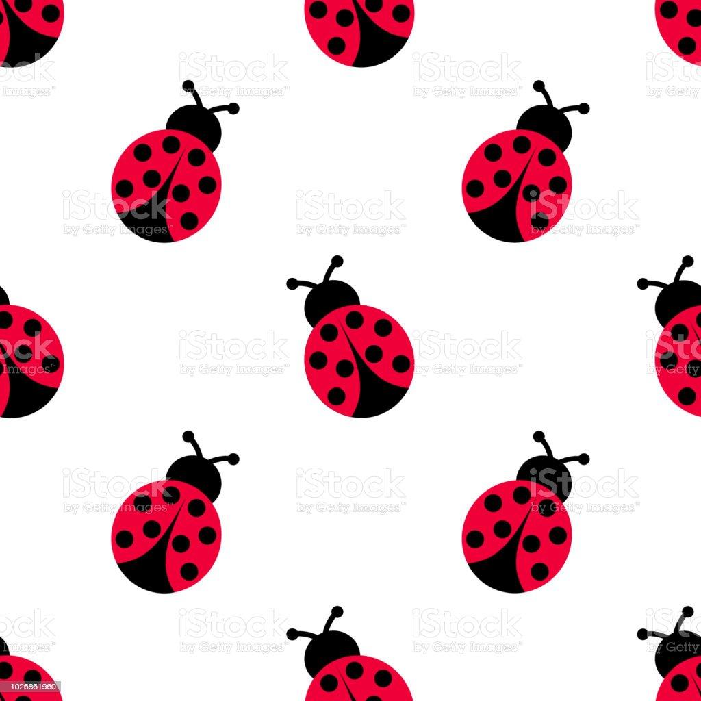 Ladybird decoration pattern. Ladybug seamless pattern design.