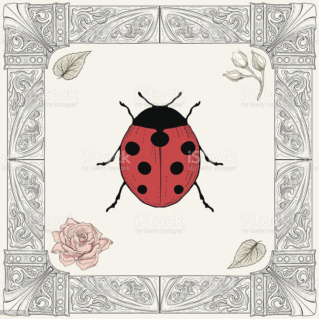 Disegno Coccinella E Rosa Immagini Vettoriali Stock E Altre
