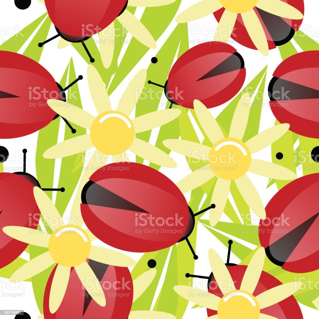 Ladybug and yellow daisy seamless wallpaper background royalty-free ladybug and yellow daisy seamless wallpaper background stock vector art & more images of backgrounds