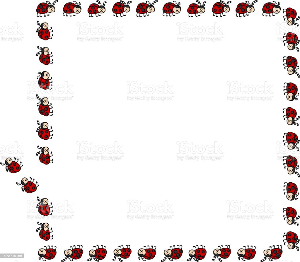 Ladybug Border Rectangle Frame Stock Vector Art & More Images of ...